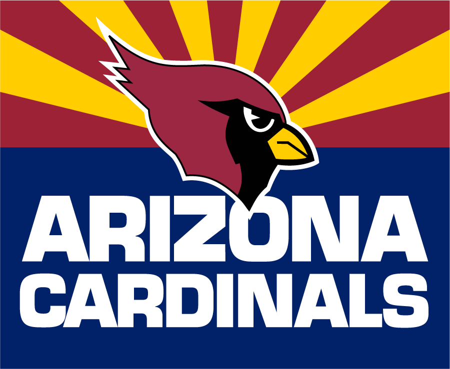 Arizona Cardinals Logo Alternate Logo (1994-2001) - Arizona Cardinals primary logo on the state flag of Arizona SportsLogos.Net