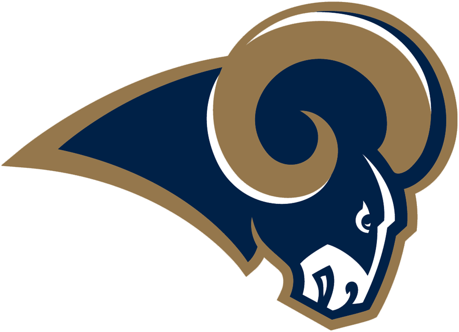 St. Louis Rams Logo Primary Logo (2000-2015) - Blue ram head with gold horn and outline SportsLogos.Net