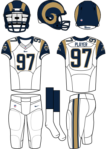 St. Louis Rams Uniform Road Uniform (2012-2015) - Navy helmet (gold horns on the side) with white jersey and white pants. Manufactured by Nike. SportsLogos.Net