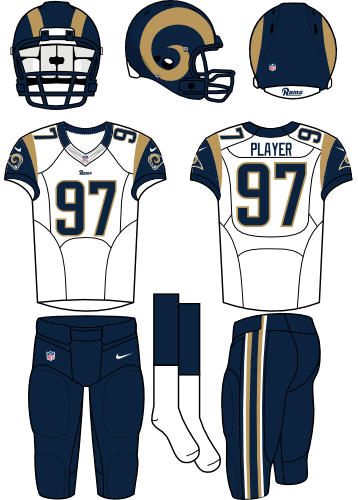 St. Louis Rams Uniform Road Uniform (2012-2015) - Navy helmet (gold horns on the side) with white jersey and navy pants. Manufactured by Nike. SportsLogos.Net