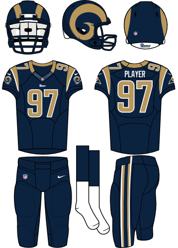 St. Louis Rams Uniform Home Uniform (2012-2015) - Navy helmet (gold horn on the side) with navy jersey and navy pants. Manufactured by Nike. SportsLogos.Net