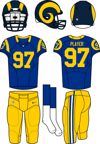 St. Louis Rams Uniform Alternate Uniform (2012-2015) - Navy helmet (yellow horn on the side) with royal blue jersey and yellow pants. Throwback era is 1999. Manufactured by Nike. SportsLogos.Net