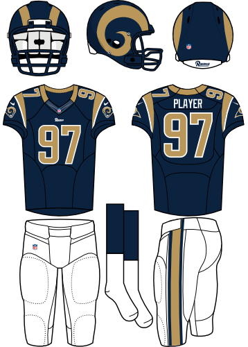 St. Louis Rams Uniform Home Uniform (2012-2015) - Navy helmet (gold horn on the side) with navy jersey and white pants. Manufactured by Nike. SportsLogos.Net