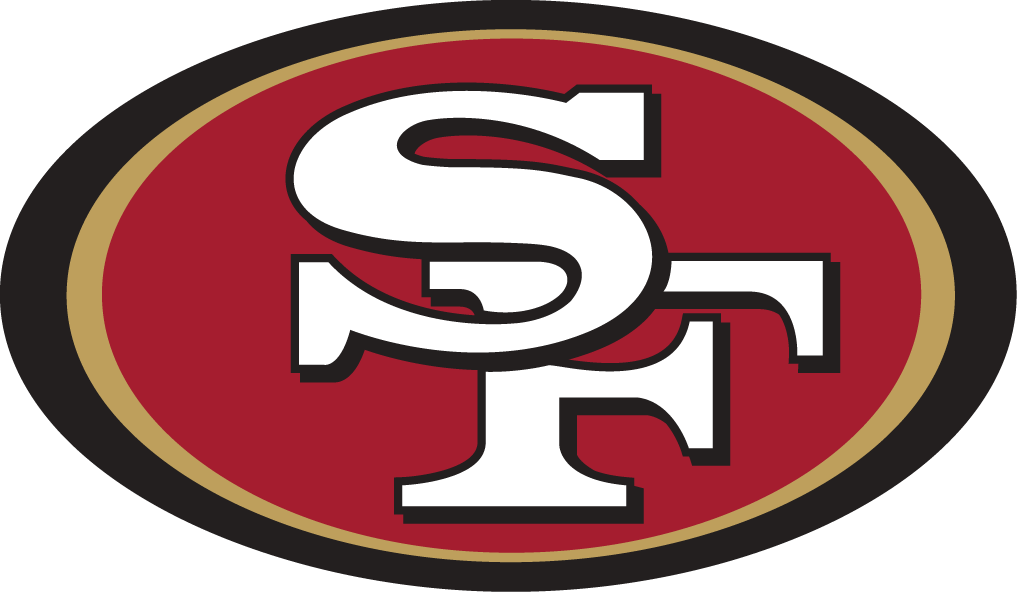 San Francisco 49ers Logo Primary Logo (1996-2008) - SF in white inside red oval with 49er gold and black outlines SportsLogos.Net