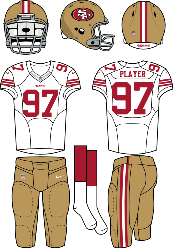 San Francisco 49ers Uniform Road Uniform (2012-2016) - Gold helmet (primary logo on side) with white jersey and gold pants. Manufactured by Nike. SportsLogos.Net