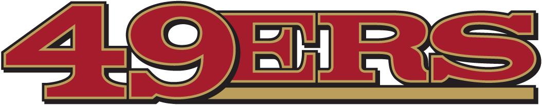 San Francisco 49ers Logo Wordmark Logo (2005-2008) - 49ERS in bold red, gold and black font, with underline below 'ers' SportsLogos.Net