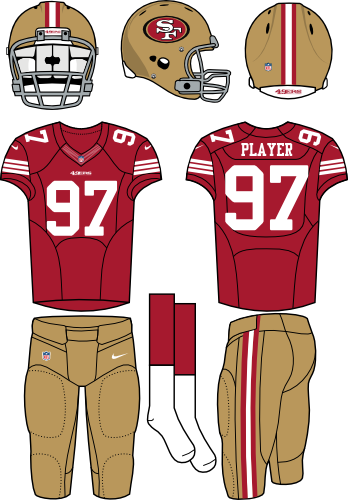 San Francisco 49ers Uniform Home Uniform (2012-2016) - Gold helmet (primary logo on side) with red jersey and gold pants. Manufactured by Nike. SportsLogos.Net