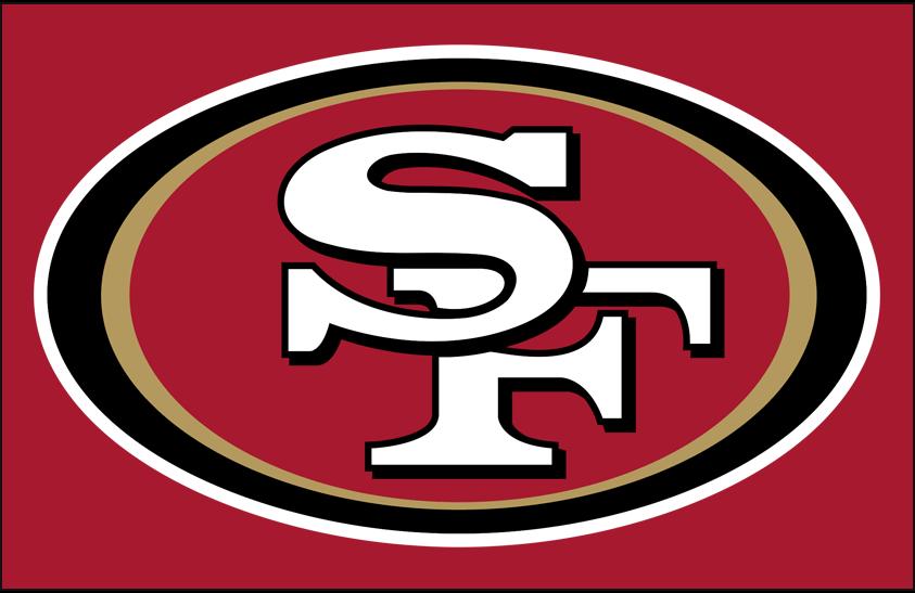 San Francisco 49ers Logo Primary Dark Logo (2009-Pres) - San Francisco 49ers primary logo on red SportsLogos.Net