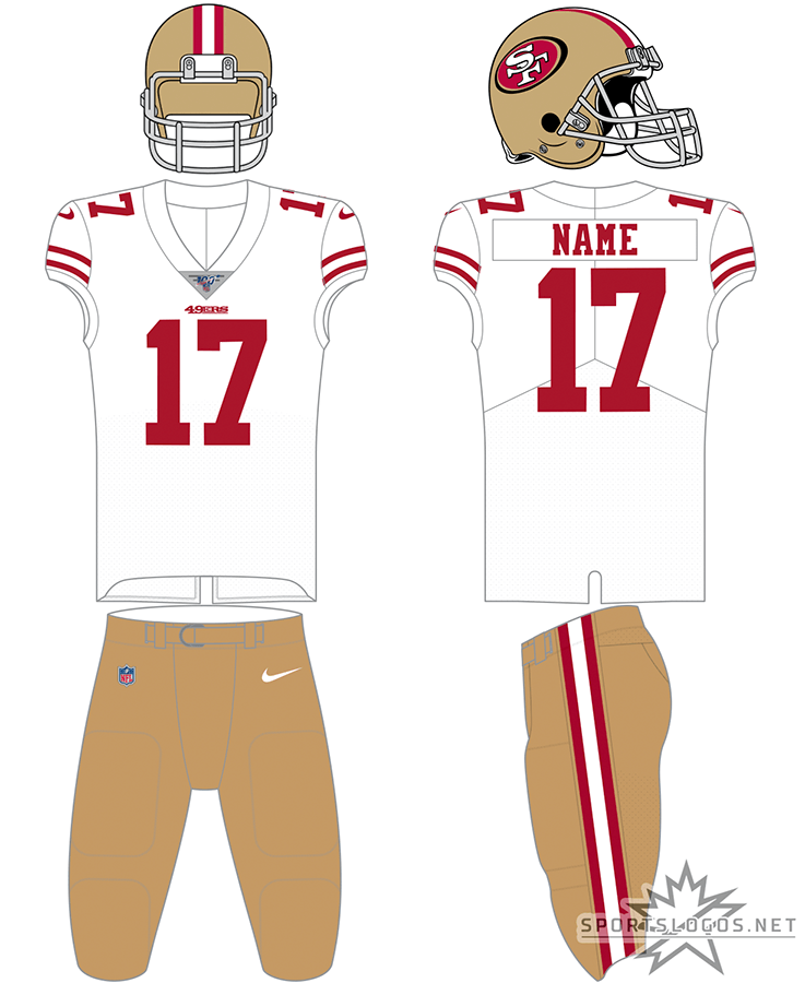 San Francisco 49ers Uniform Road Uniform (2017-Pres) - San Francisco 49ers road white uniform with gold helmet and gold pants SportsLogos.Net