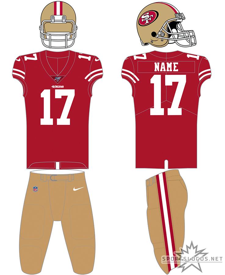 San Francisco 49ers Uniform Home Uniform (2017-Pres) - San Francisco 49ers home red uniform with gold helmet and gold pants SportsLogos.Net
