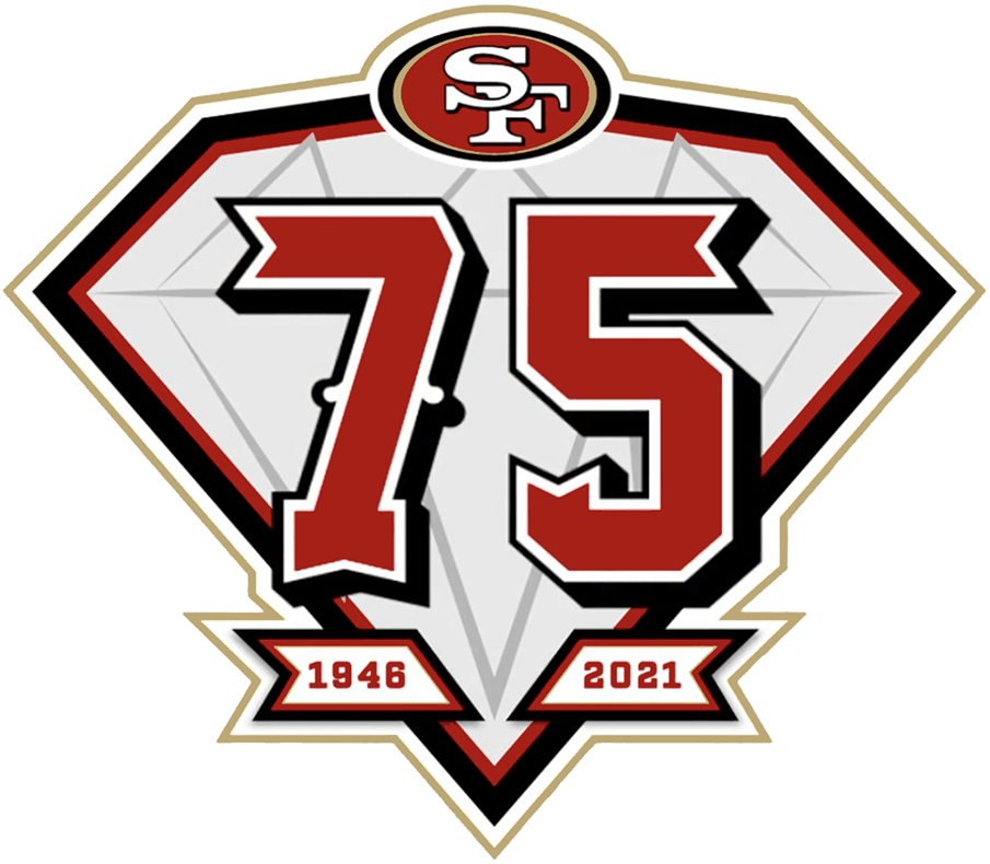 San Francisco 49ers Logo Anniversary Logo (2021) - The San Francisco 49ers 75th anniversary logo was worn as a patch on the upper right side of the team jerseys throughout the 2021 NFL season. The logo is shaped as a diamond, usually used to represent a 75th anniversary, with a 75 in red on the diamond. The custom number font is a blend of the 49ers Saloon typeface, traditional block, outlined and drop-shadowed number fonts. The anniversary mark is then complete with the 49ers' logo at the top, as well as year they were established (1946) and the current year (2021) in a ribbon at the bottom. SportsLogos.Net