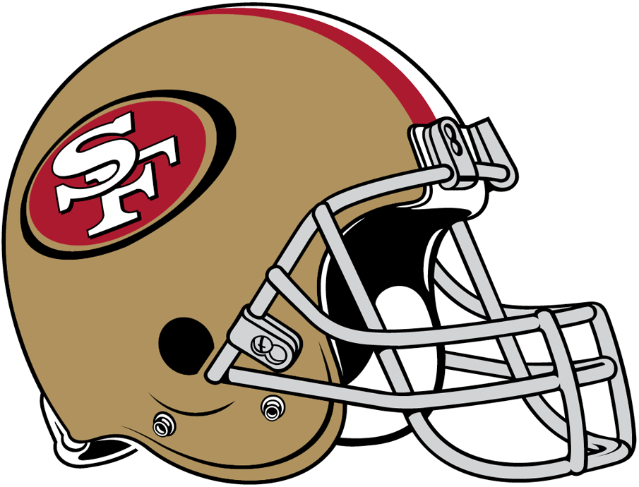San Francisco 49ers Helmet Helmet (2009-Pres) - Gold helmet, red and white stripes with 49ers logo on the side, grey facemask SportsLogos.Net
