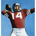 San Francisco 49ers (1953) YA Tittle posing for a trading card in San Francisco 49ers home uniform in 1953