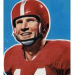 San Francisco 49ers (1955) YA Tittle posing for a trading card in San Francisco 49ers home uniform in 1955