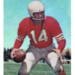 San Francisco 49ers (1957) YA Tittle posing for a trading card in San Francisco 49ers home uniform in 1957
