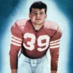 San Francisco 49ers (1954) Hugh McElhenny posing for a trading card in San Francisco 49ers home uniform in 1954