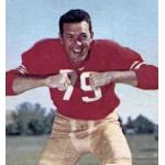 San Francisco 49ers (1959) Bob Sinclair posing for a trading card in San Francisco 49ers home uniform in 1959