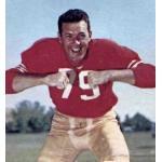 San Francisco 49ers (1959) Bob Sinclair posing for a trading card in San Francisco 49ers home uniform in 1959