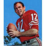 San Francisco 49ers (1967) John Brodie posing for a trading card in San Francisco 49ers home uniform in 1967