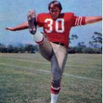 San Francisco 49ers (1970) Bruce Gossett wearing San Francisco 49ers home uniform in 1970
