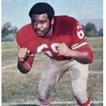 San Francisco 49ers (1972) Woody Peoples wearing San Francisco 49ers home uniform in 1972