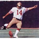 San Francisco 49ers (1978) Ray Wersching in San Francisco 49ers road uniform in 1978