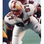 San Francisco 49ers (1996) Bryant Young in the San Francisco 49ers road uniform with 50th Anniversary patch in 1996