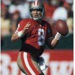 San Francisco 49ers (1994) Steve Young in the San Francisco 49ers home uniform with NFL 75th Anniversary patch in 1994