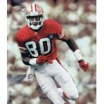 San Francisco 49ers (1994) Jerry Rice in the San Francisco 49ers home throwback uniform with NFL 75th Anniversary patch in 1994