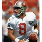 San Francisco 49ers (1994) Steve Young in the San Francisco 49ers road uniform with NFL 75th Anniversary patch in 1994