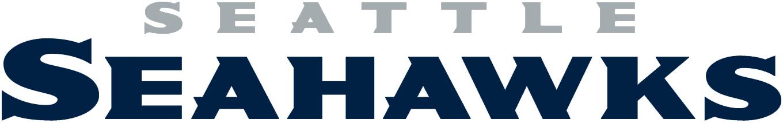 Seattle Seahawks Logo Wordmark Logo (2012-Pres) - SEATTLE in silver above SEAHAWKS in blue SportsLogos.Net