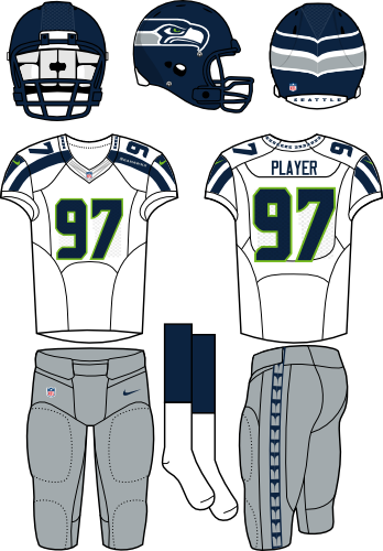 Seattle Seahawks Uniform Road Uniform (2012-Pres) - Navy helmet (primary logo wraps around helmet) with white jersey (accented in navy) and silver pants. Manufactured by Nike. SportsLogos.Net