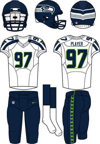 Seattle Seahawks Uniform Road Uniform (2012-Pres) - Navy helmet (primary logo wraps around helmet) with white jersey (accented in navy) and navy pants. Manufactured by Nike. SportsLogos.Net