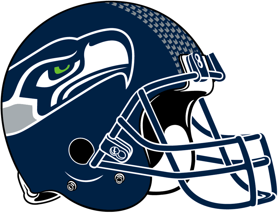 Seattle Seahawks Helmet Helmet (2012-Pres) - Dark blue helmet with dark blue, green and grey logo, outlined in white  with a dark blue facemask and feather pattern along top SportsLogos.Net
