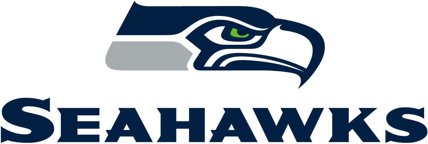 Seattle Seahawks Logo Wordmark Logo (2012-Pres) - SEAHAWKS in blue below team primary logo SportsLogos.Net