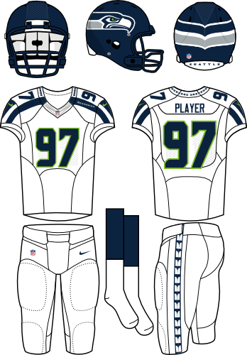 Seattle Seahawks Uniform Road Uniform (2012-Pres) - Navy helmet (primary logo wraps around helmet) with white jersey (accented in navy) and white pants. Manufactured by Nike. SportsLogos.Net