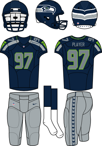 Seattle Seahawks Uniform Home Uniform (2012-Pres) - Navy helmet (primary logo wraps around helmet) with navy jersey (accented in lime green and silver) with silver pants. Manufactured by Nike. SportsLogos.Net
