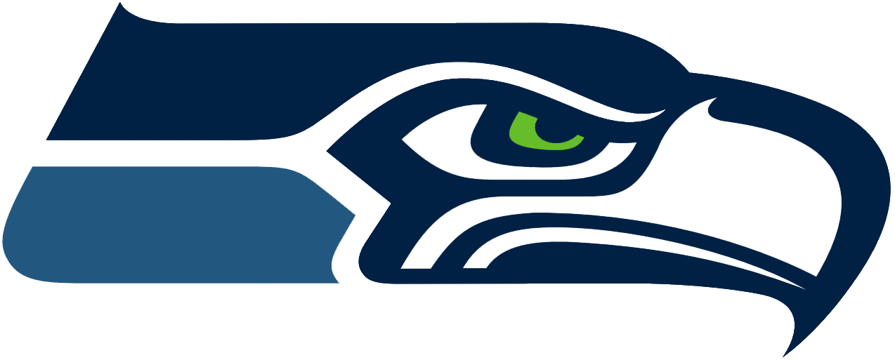 Seattle Seahawks Logo Primary Logo (2002-2011) - Seahawk head in Navy and Seahawk Blue with lime green eye SportsLogos.Net