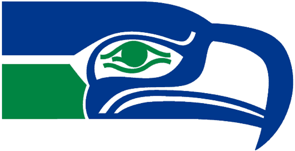 Seattle Seahawks Logo Primary Logo (1976-2001) - Seahawk head in blue and green with green eye SportsLogos.Net
