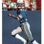 Seattle Seahawks (1985) Daryl Turner wearing the Seattle Seahawks home blue uniform with 10th anniversary patch during the 1985 season