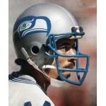 Seattle Seahawks (1985) John Harris wearing the Seattle Seahawks road white uniform during the 1985 season