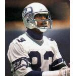 Seattle Seahawks (1987) Raymond Butler wearing the Seattle Seahawks road white uniform during the 1987 season