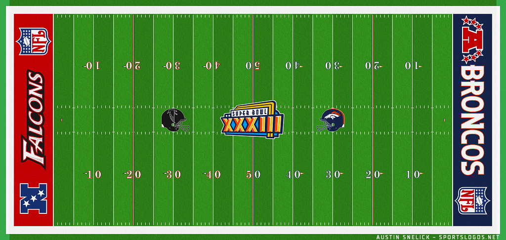 Super Bowl Playing Surface Playing Surface (Super Bowl XXXIII) - Field-End Zone design for Super Bowl XXXIII - Denver Broncos vs Atlanta Falcons SportsLogos.Net