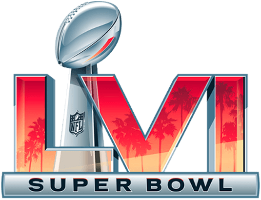 Super Bowl Logo Primary Logo (Super Bowl LVI) - The Super Bowl LVI logo (Super Bowl 56 Logo) features a slight departure from the template used over the previous five games, a colourful sunset sky filled with palm trees is placed within the Roman numeral LVI paying tribute to Southern California. The Vince Lombardi Trophy has been moved off to the side and behind the numerals in order to avoid confusion with it appearing like one of the numbers as had been a problem in past games. Super Bowl LVI will be played at SoFi Stadium in Inglewood, California on February 6, 2022 SportsLogos.Net