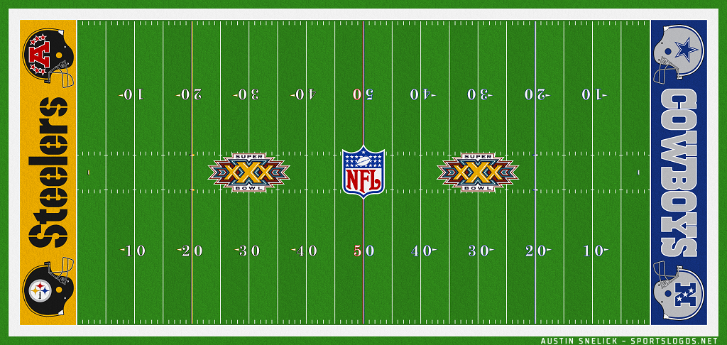 Super Bowl Playing Surface Playing Surface (Super Bowl XXX) - Field-End Zone design for Super Bowl XXX - Pittsburgh Steelers vs Dallas Cowboys SportsLogos.Net