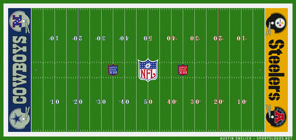 Super Bowl Playing Surface Playing Surface (Super Bowl XIII) - Field-End Zone design for Super Bowl XIII - Pittsburgh Steelers vs Dallas Cowboys SportsLogos.Net