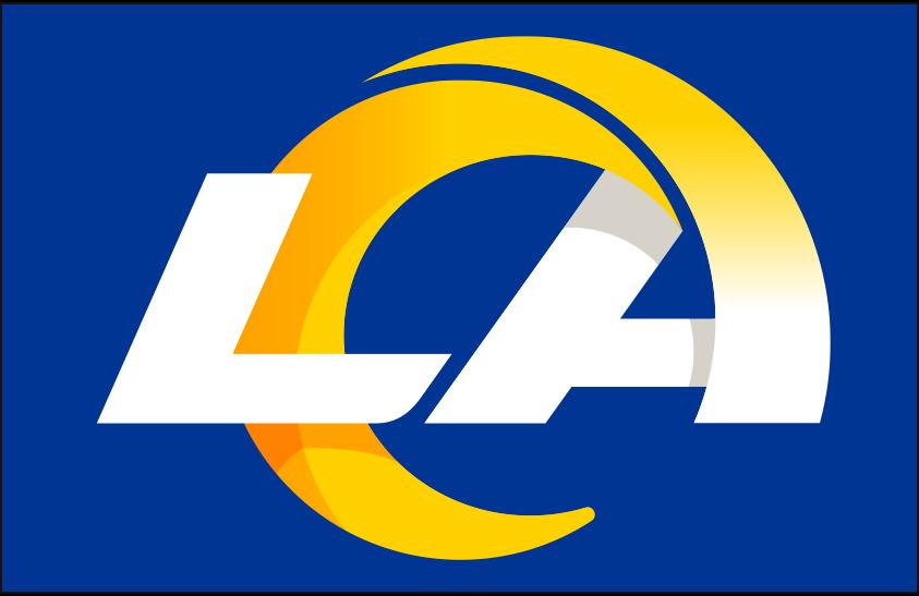 Los Angeles Rams Logo Primary Dark Logo (2020-Pres) - Los Angeles Rams primary logo on blue SportsLogos.Net
