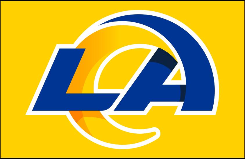 Los Angeles Rams Logo Primary Dark Logo (2020-Pres) - Los Angeles Rams primary logo on yellow SportsLogos.Net