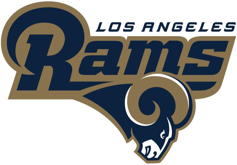 Los Angeles Rams Logo Alternate Logo (2016) - Rams in blue with a gold outline, Los Angeles above in blue, primary ram head logo below SportsLogos.Net