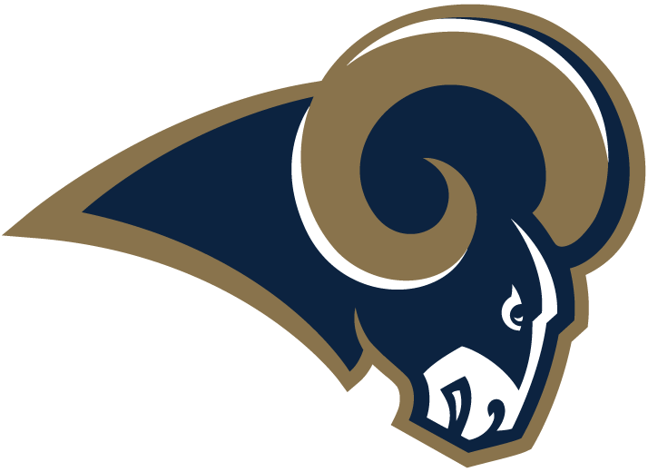 Los Angeles Rams Logo Primary Logo (2016) - Blue ram head with gold horns, carried over with the team after it transferred from St. Louis SportsLogos.Net